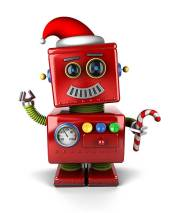 Happy vintage toy robot wearing a Santa hat and holding a candy cone.